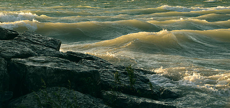 Golden Capped Sunset Waves of Lake Michigan by SimplyCMB