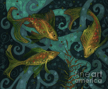 Golden Fishes, underwater creatures, black, teal and yellow by Julia Khoroshikh