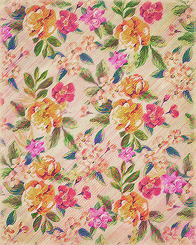 Golden Flitch Digital Vintage Retro  Glitched Pastel Flowers  Floral design pattern by Philipp Rietz