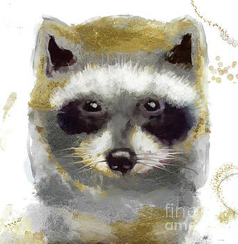Golden Forest Raccoon  by Mindy Sommers