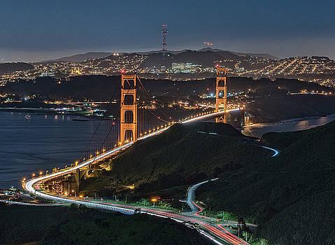 Golden Gate bridge at night by Mark Chandler