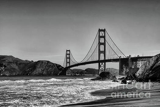 Golden Gate Bridge Black and White by Peter Dang