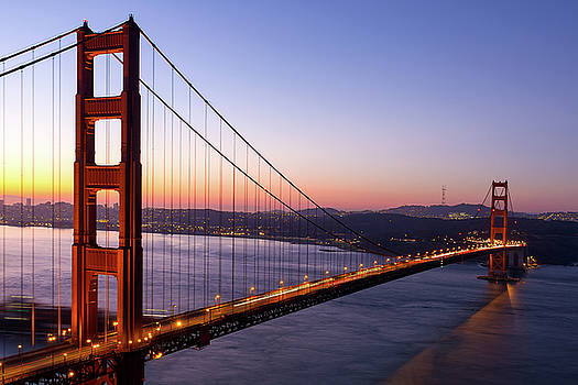Golden Gate Bridge during Sunrise by David Gn