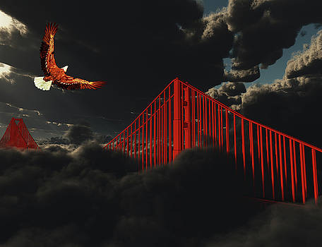 Golden Gate Bridge in Heavy Fog Clouds with Eagle by Bruce Rolff