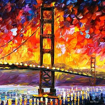 Golden Gate Bridge - PALETTE KNIFE Oil Painting On Canvas By Leonid Afremov by Leonid Afremov