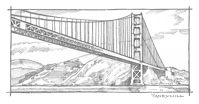 Golden Gate Bridge Sketch by Tom Taneyhill