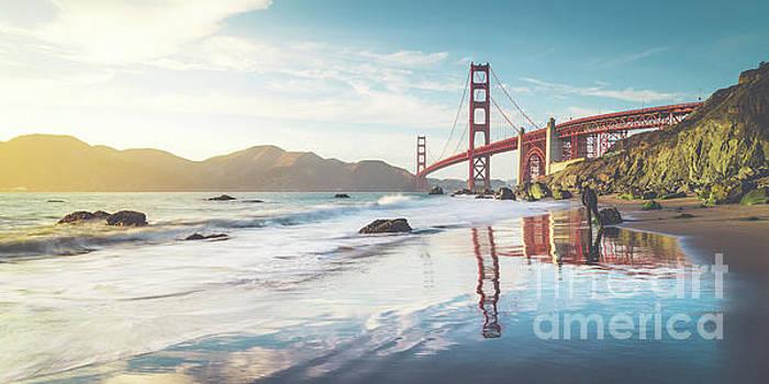 Golden Gate Bridge Sunset Panorama by JR Photography