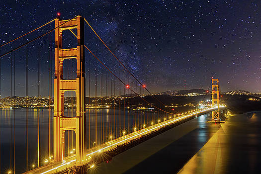 Golden Gate Bridge under the Starry Night Sky by David Gn