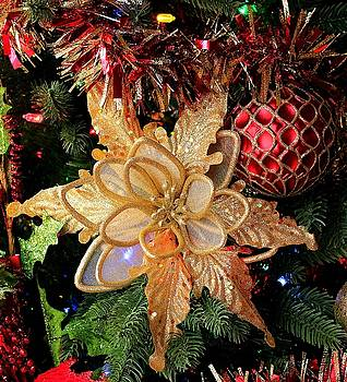 Golden Glitter Christmas Ornaments by Sheila Brown