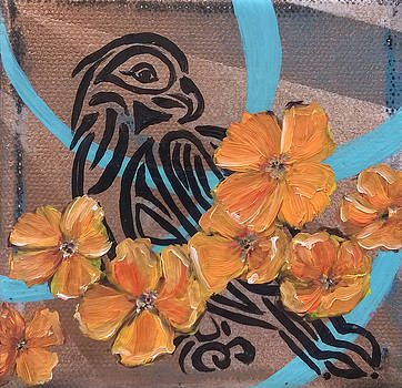 Golden Hawk and Poppies by Andrea LaHue