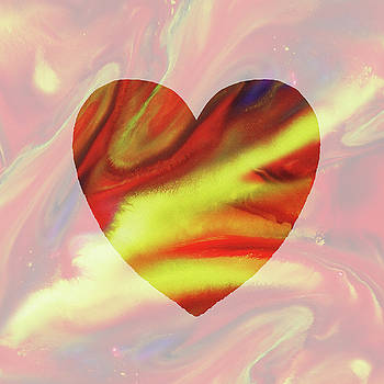 Irina Sztukowski - Golden Heart Watercolor Silhouette