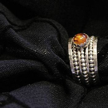 Golden Honey Baltic AMBER and stackable sterling silver bold rings by Nadina Giurgiu