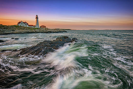Golden Hour at Portland Head Light by Rick Berk