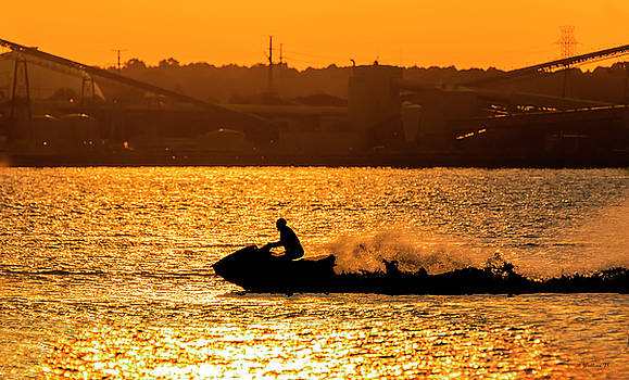 Golden Hour Jet Ski Silhouette by Brian Wallace