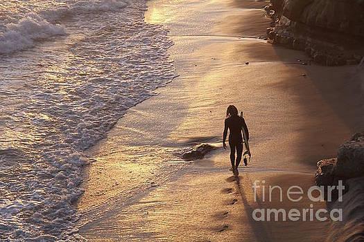 Golden Hour Swamis Beach Encinitas California by Linda Queally