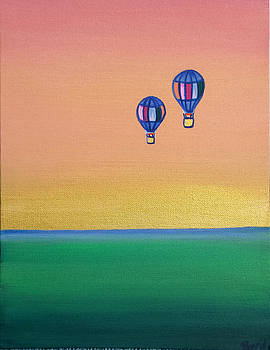 Golden Landscape and Balloons by Beryllium Canvas