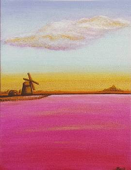 Golden Landscape With Windmill by Beryllium Canvas