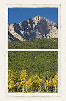 James BO Insogna - Golden Longs Peak View Through White Rustic Distressed Window