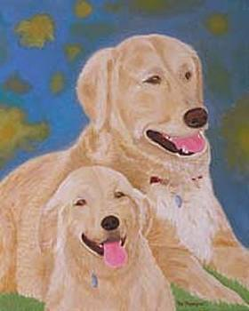 Golden Memory-Portraits of Two Golden Retrievers by Thi Nguyen