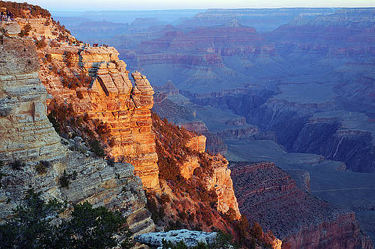 Reimar Gaertner - Golden Morning light on a rock face South Rim Grand Canyon