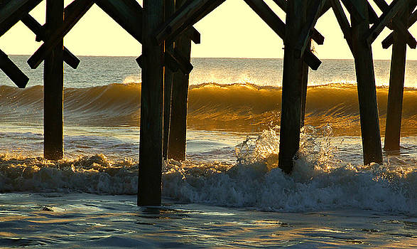 Golden Morning Waves Under The Pier by Joey OConnor