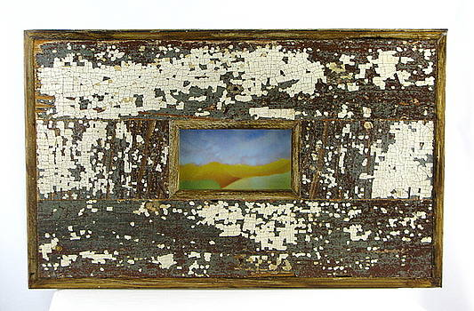 Golden Mountain Range in frame constructed from salvaged wood from a home destroyed by Hurricane Kat by Cheryl Brumfield Knox