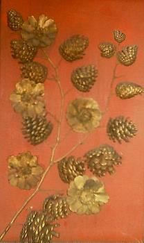 Golden Pine Cone Flowers by Mehdi Mehrvarz
