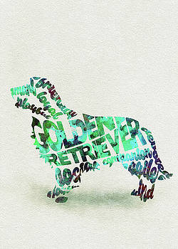 Golden Retriever Dog Watercolor Painting / Typographic Art by Ayse and Deniz