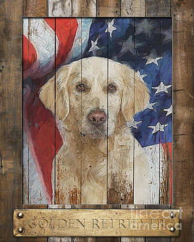 Golden Retriever Flag Poster by Tim Wemple