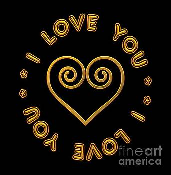 Rose Santuci-Sofranko - Golden Scrolled Heart and I Love You