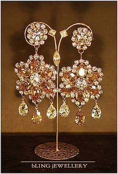 Golden Shadow and Crystal Pear Flower Chandeliers by Janine Antulov