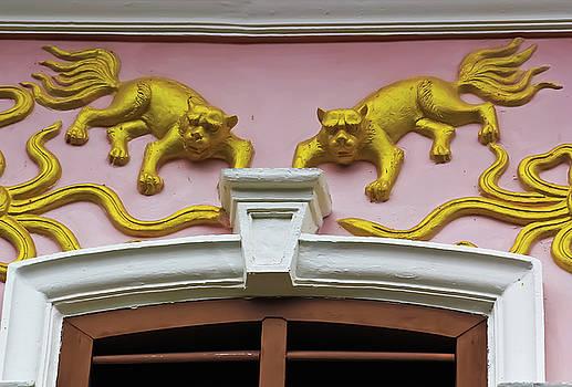 Golden Stucco Work On The Wallpaper  by Prasert Chiangsakul