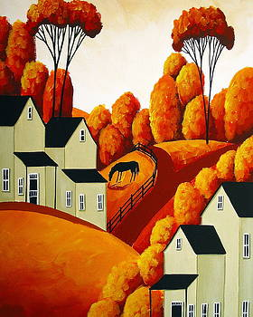 Golden Time Of Year - folk art landscape by Debbie Criswell