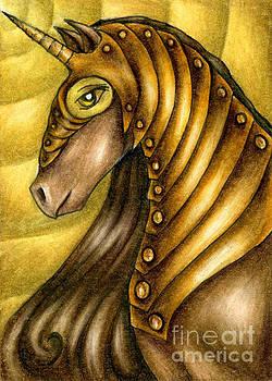 Golden Unicorn Warrior Art by Kristin Aquariann