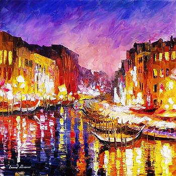 Golden Venice - PALETTE KNIFE Oil Painting On Canvas By Leonid Afremov by Leonid Afremov