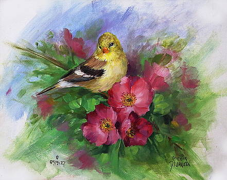 Goldfinch and Wild Roses by David Jansen