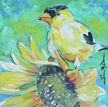 Goldfinch on Sunflower by Susan Davies