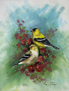 Goldfinches and Red Blossoms by David Jansen
