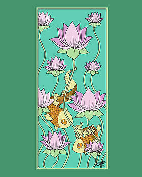 Goldfish and Lotus by Eleanor Hofer