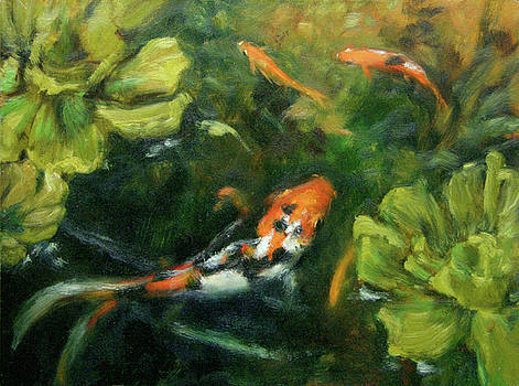 Goldfish and Water Lettuce by Tracie Thompson