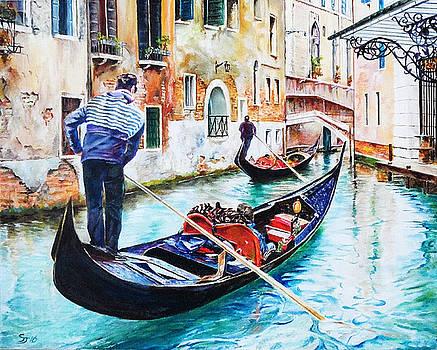 Gondola on the Grand Canal, Venice, Italy by Steve James