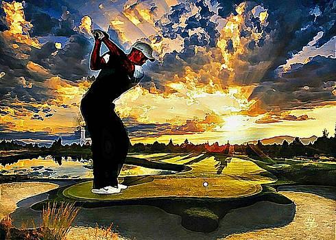 Golf At Sunset by Lynda Payton