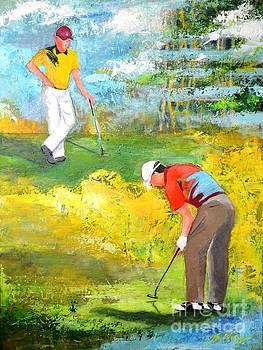 Golf buddies #2 by Betty M M Wong