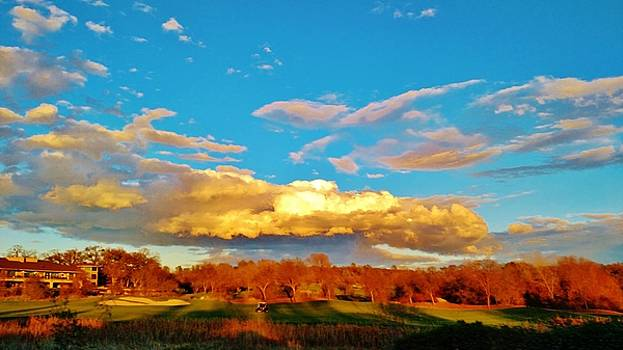 Golf Course and Clouds Storm by Peggy Leyva Conley
