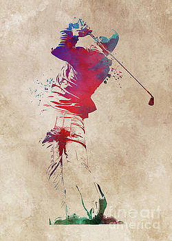 Golf player sport art  by Justyna JBJart