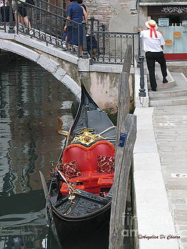 Gondola and Gondolier at rest in Venice by Italian Art