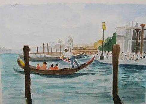 Gondola on the Canal in Venice Italy by Joan Wallace Reeves