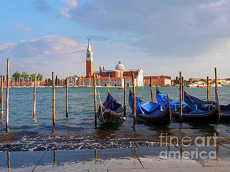 Gondolas and Bacino San Marco in Venice Italy by Louise Heusinkveld