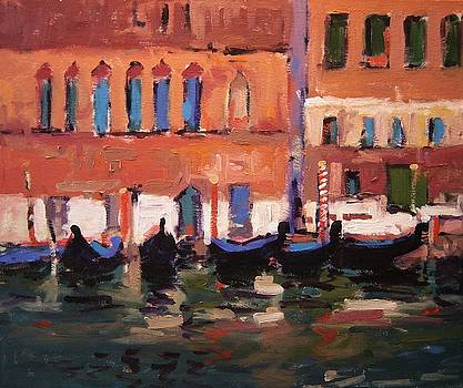 Gondolas and windows Venice Italy by R W Goetting