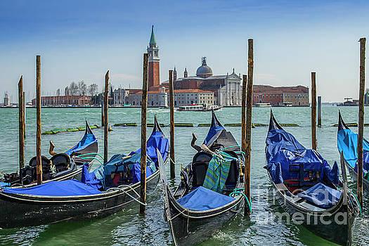 Gondolas in Vernice with San Giorgio di Maggiore church by Patricia Hofmeester